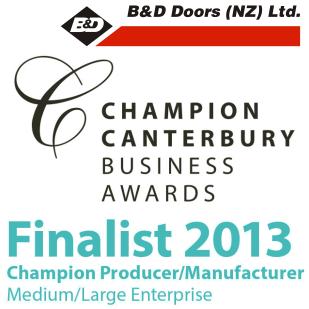 B&D Doors Champion Canterbury Finalist